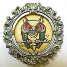 miniature tattoo style owl painting in gilded frame