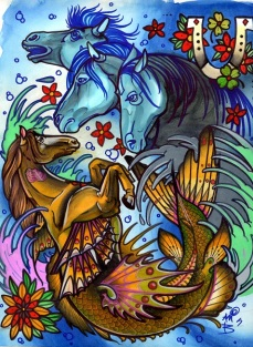 Painted as a sheet of tattoo flash. Selkies are nefarious horsies that live in the ocean. They're gorgeous. Then you see one and try to bridle it and take it home and it drags you in and drowns you. The original of this has sold. I do have some prints available at this secret link: http://www.redbubble.com/people/resonanteye/works/11430905-selkies