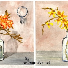 "A diptych of 9x12"" wc on coldpress. I LOVE forsythia, I grew up in a house that had a huge hedge of them around a ditch behind it. They grew over it so it was like a secret tunnel for me to hide in. I HATE marigolds. I paint them a lot though. We always had these perfect rows of them growing around the yard. There are keys and a keyhole to tie these two paintings together. Along with a few of my antique glass jar collection as props. I love old jars, I wish I was brave enough to climb into old-timey toilet holes and dig them up. I think the stucco on the walls in these came out very nicely. The originals are still here, for sale. I plan to mat and frame them soon. I also have prints I've made on vellum-textured bristol, which I think came out nicely."