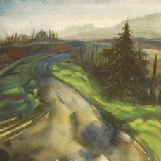"""Painted on site at the side of a logging road in Alsea, Oregon. 13x13"""" ish. on coldpress. I still have the original of this one, as well as some prints I made on heavy rag paper. This road was how the mail got through to my town when there was a mudslide on the main road on either side of town one year. They used a neighbor's 4x4 to get into and out of town to pick up the mail. Also, that's a clearcut off on the left."""