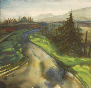 "Painted on site at the side of a logging road in Alsea, Oregon. 13x13"" ish. on coldpress. I still have the original of this one, as well as some prints I made on heavy rag paper. This road was how the mail got through to my town when there was a mudslide on the main road on either side of town one year. They used a neighbor's 4x4 to get into and out of town to pick up the mail. Also, that's a clearcut off on the left."