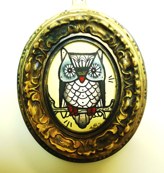 miniature owl tattoo painting gilded frame